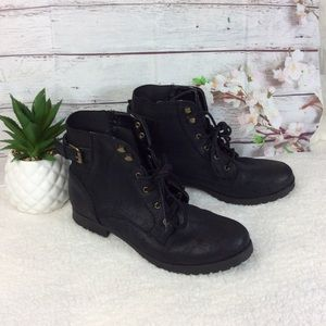 Charlotte Russe Black Ankle Lace-Up Booties Sz 9